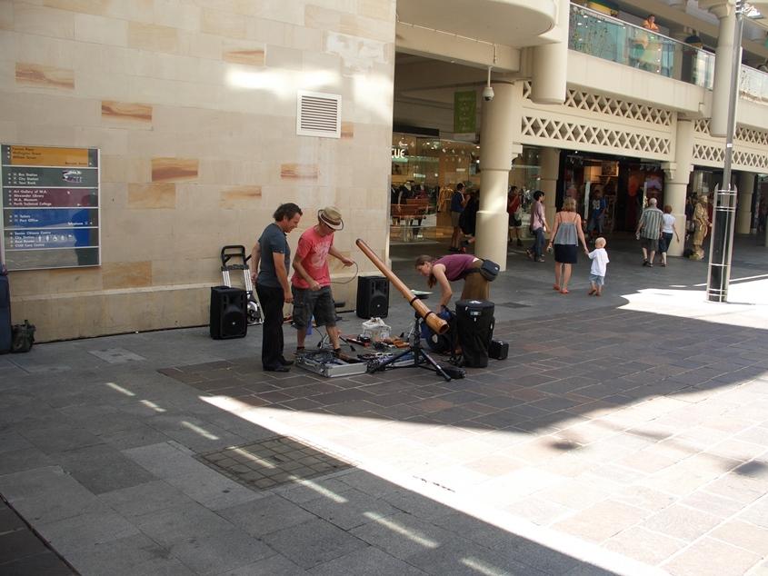 Perth, Australia, street musicians with didgeridoo