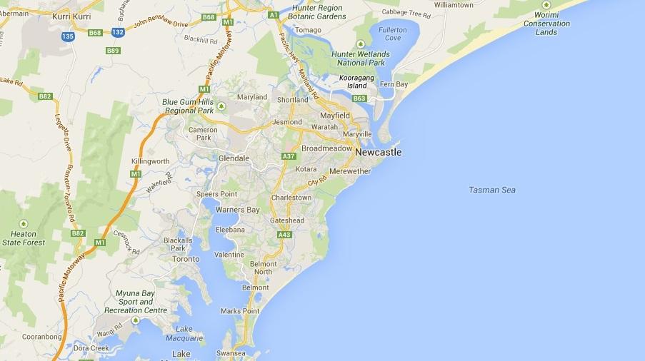 Карта 3 Newcastle, New South Wales, Australia