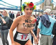 A number Of Femen activists conducted A protest about The presence Of Olympic Teams that represent countries associated with extreme Islamic views