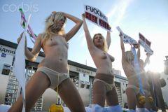 FEMEN activists protest against The UEFA Euro 2012   Kiev