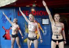 Femen activists protest against prostitution At Reeperbahn