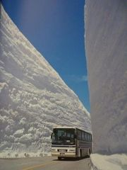 Это японские горы (3000 м над уровнем моря), зима здесь длится с ноября по апрель и толщина снега достигает 20 метров. От туристов нет отбоя 3