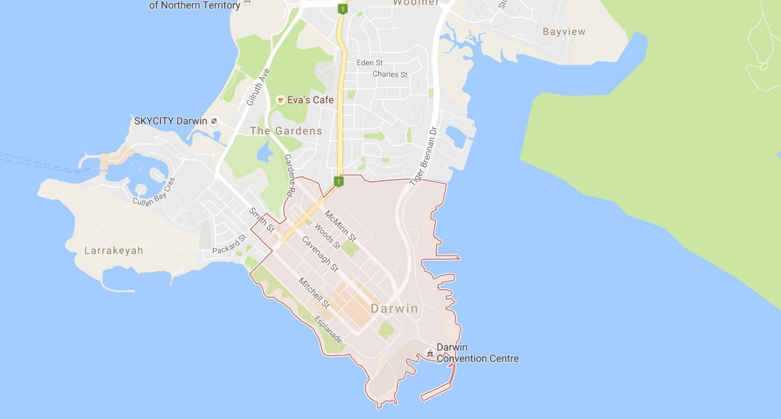 Darwins central business district
