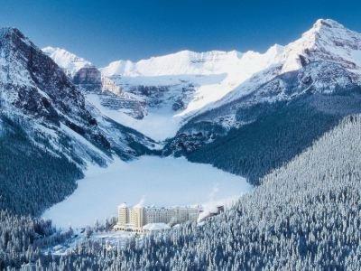 lakelouise fairmontcll exterior3 winter aerial