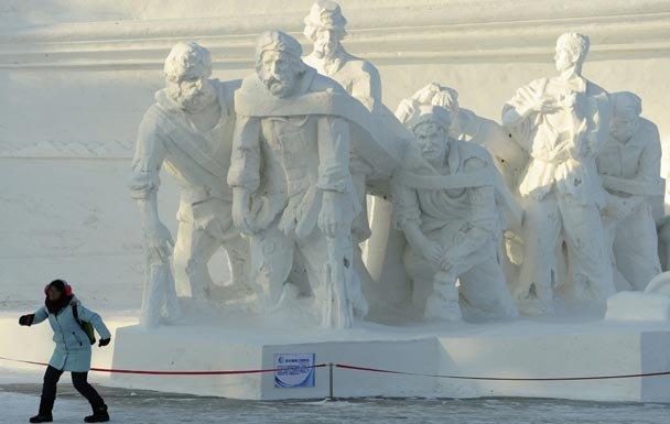 бурлаки на Харбинском фестивале снега и льда