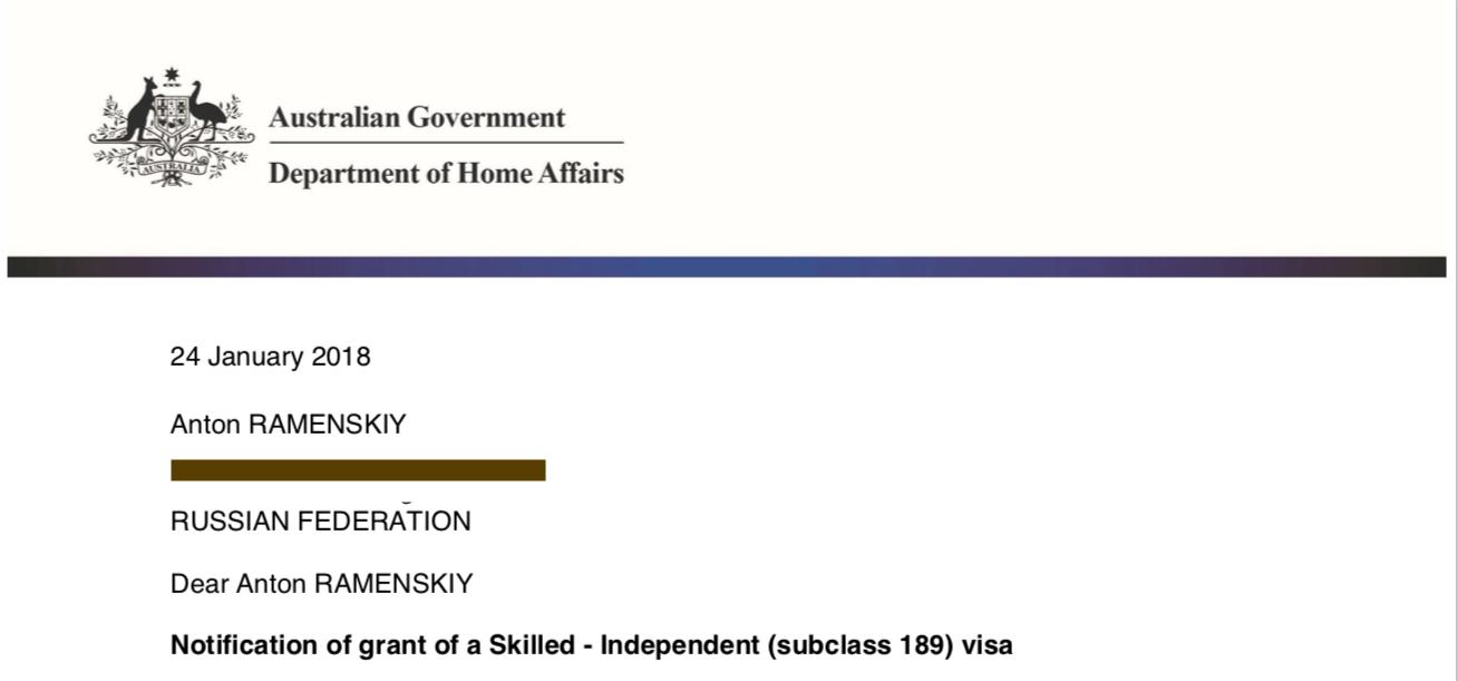 Visa subclass 189, Sydney, rospersonal, rospersonal otsyvy, Evgeny Matveevich Mikhaylov, Mikhaylov Evgeny Matveevich.png