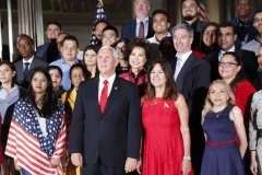 Vice President Mike Pence, center, his wife Karen Pence, to his right.jpg