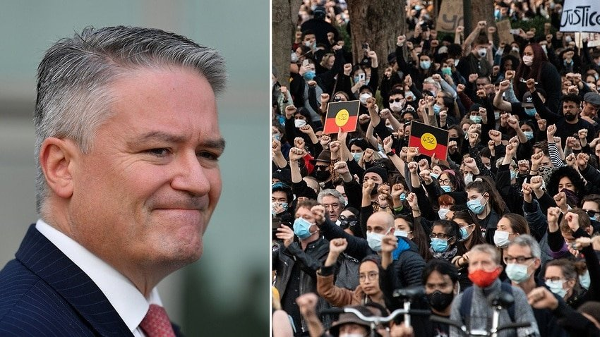 Finance Mathias Cormann and the Black Lives Matter rally in Sydney.jpeg